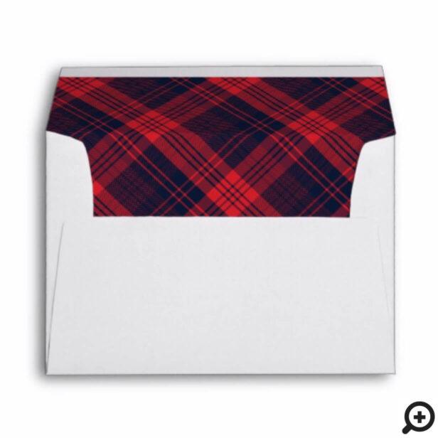 Red & Navy Blue Lumberjack Plaid Pattern Envelope
