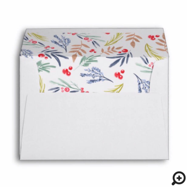 Forest Green Festive Christmas Watercolor Foliage Envelope