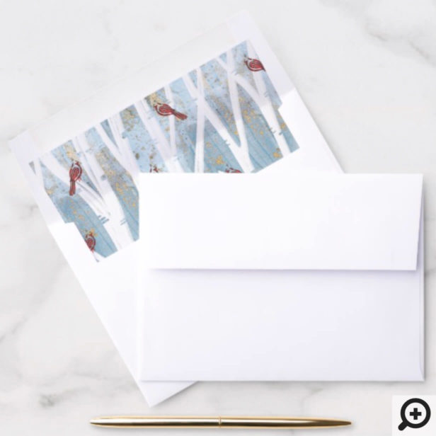 Winter Forest Birch Trees & Red Cardinal Birds Envelope Liner
