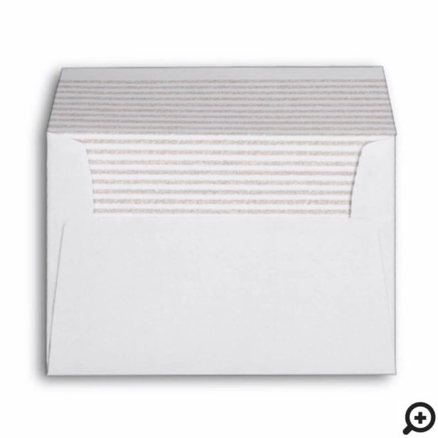 Chic Minimalistic Silver Stripe & Family Monogram Envelope