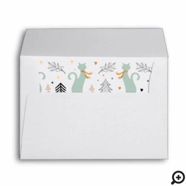Festive Christmas Tree & Cat Pattern Envelope