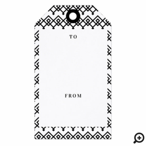 Black & White Elegant Geometric Merry Christmas Gift Tags