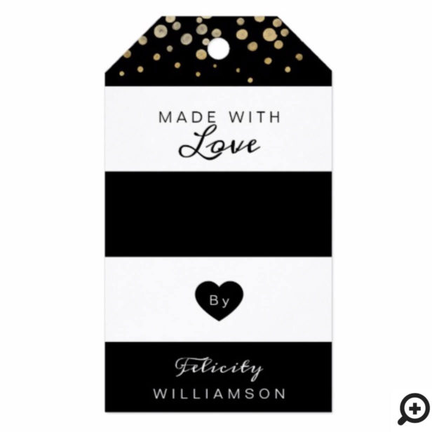 Modern Black and White Gold Confetti Snow Holiday Gift Tags