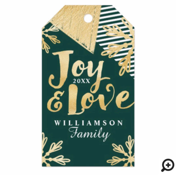 Joy & Love | Modern Abstract Snowflakes Gift Tags
