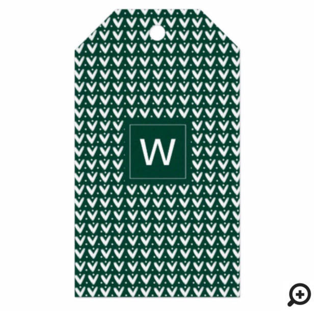 Cozy Dark Green Christmas Knitted Sweater Monogram Gift Tags