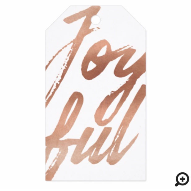 Joyful Gold Brush Script Typography Holiday Gift Tags