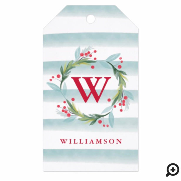 Festive Watercolor Foliage Wreath Stripes Monogram Gift Tags