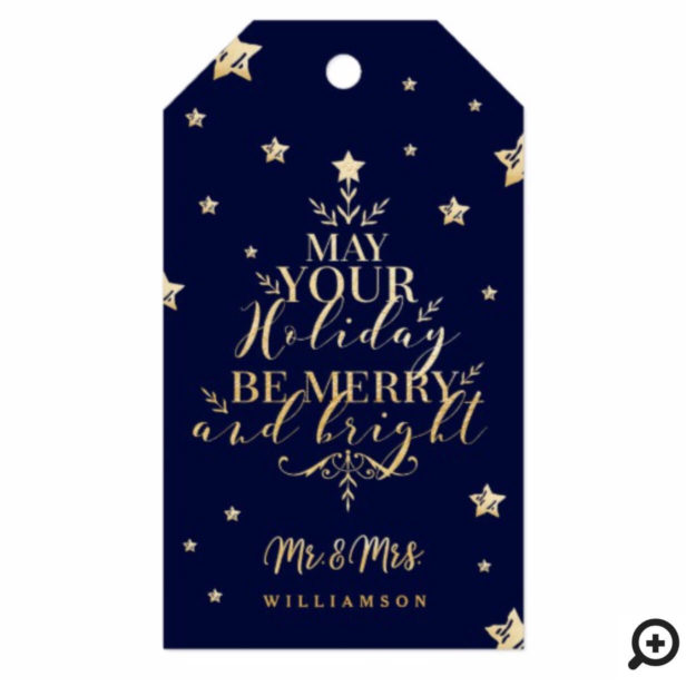 Starry Night Typographic Christmas Tree Mr & Mrs Gift Tags
