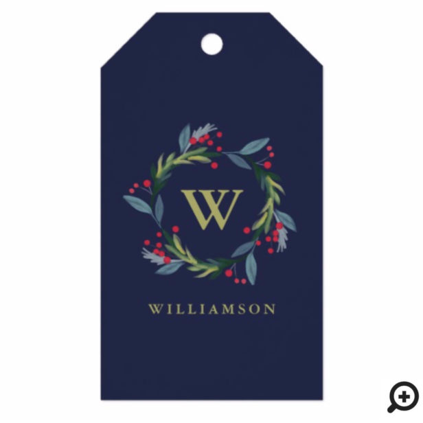 Festive Holly Watercolor Foliage Wreath & Monogram Gift Tags