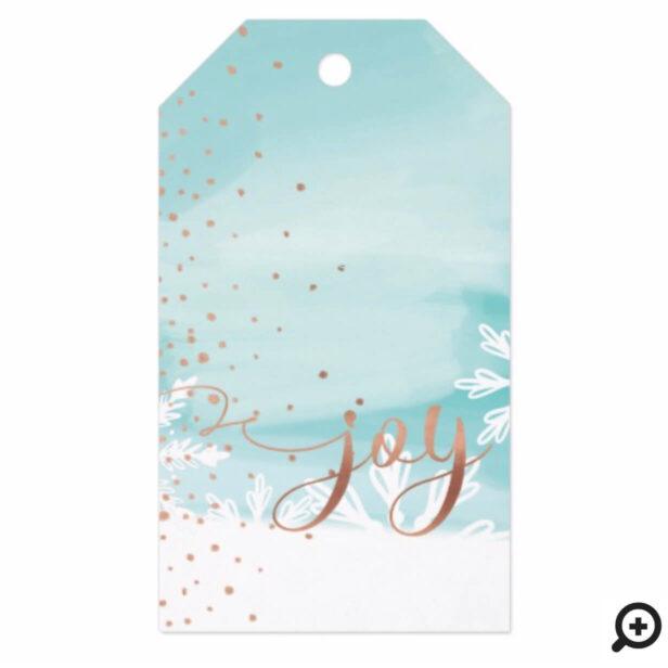 Joy | Aqua Blue Watercolor Ombre Wash Snowflakes Gift Tags