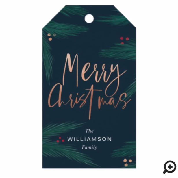 Merry Christmas Trendy Festive Winter Pine Foliage Gift Tags