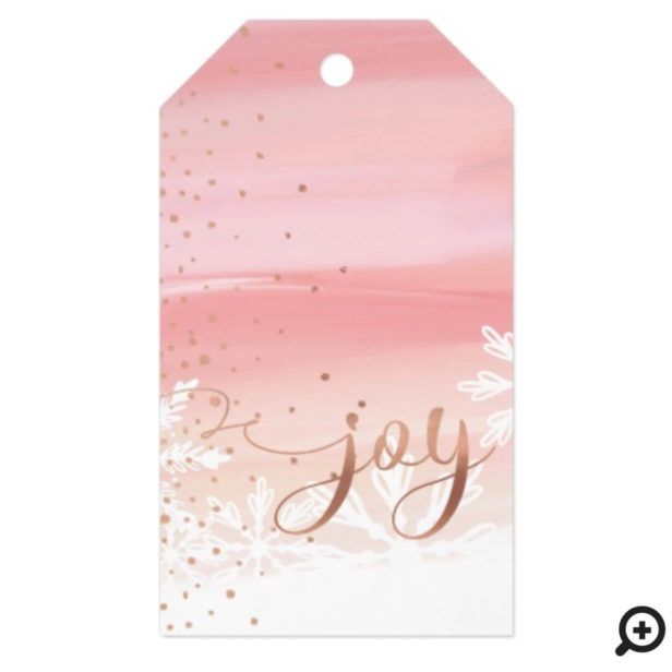 Joy | Pink Blush Watercolor Ombre Wash Snowflakes Gift Tags