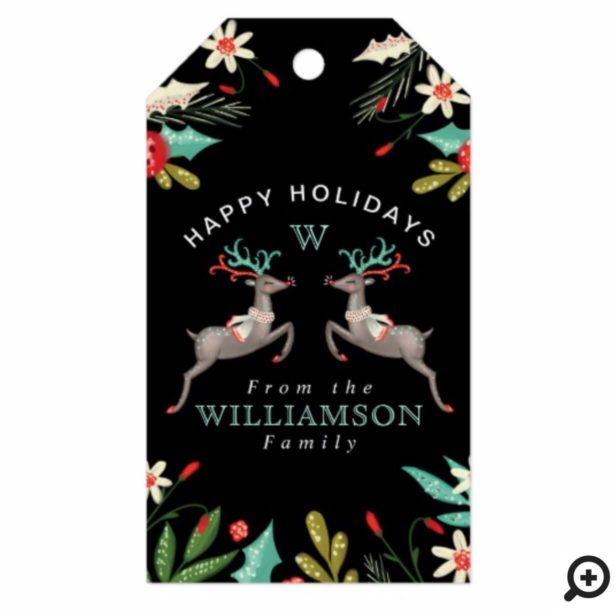 Happy Holidays Reindeer Monogram & Festive Foliage Gift Tags