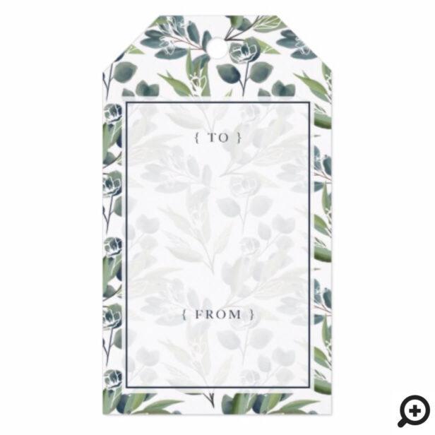 Elegant Watercolor Winter Foliage Wreath Monogram Gift Tags