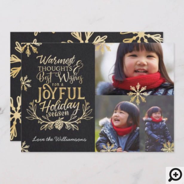 Warmest Wishes Typographic Message Photo Collage Holiday Card