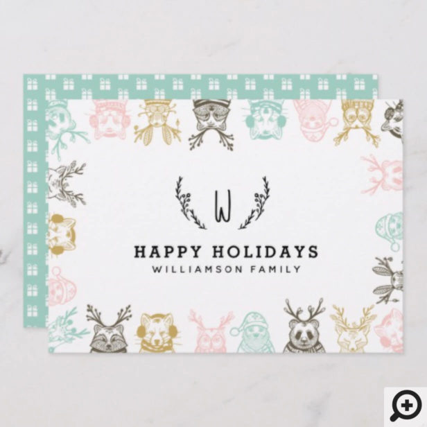 Modern Etched Style Woodland Animals Christmas Holiday Card