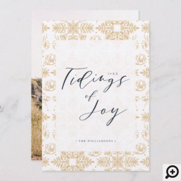 Tidings of Joy | Elegant Winter Foliage Snowflake Holiday Card