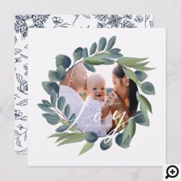 Joy Elegant Watercolor Winter Foliage Wreath Photo Holiday Card