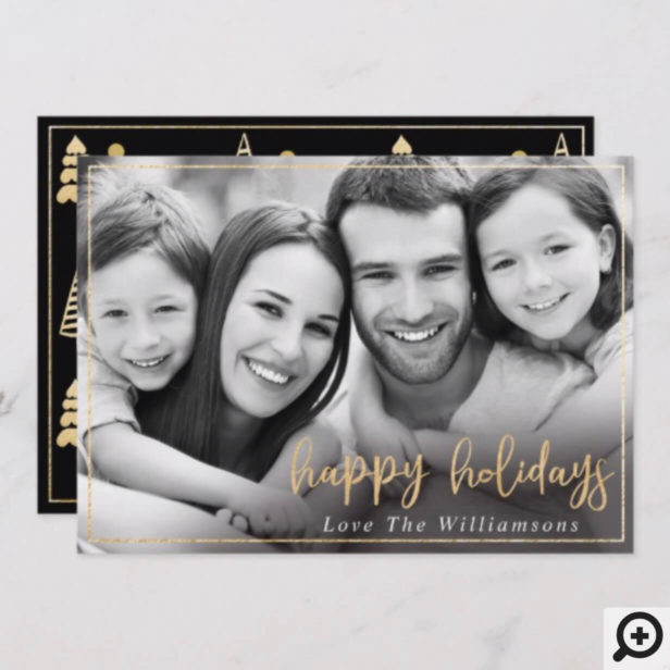 Elegant Modern Gold & Black Holiday Photo Card