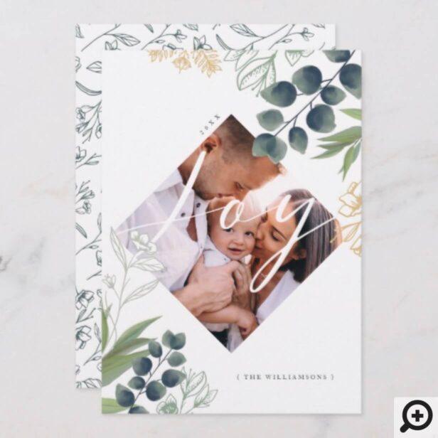 Joy | Elegant Watercolor Winter Foliage Photo Holiday Card
