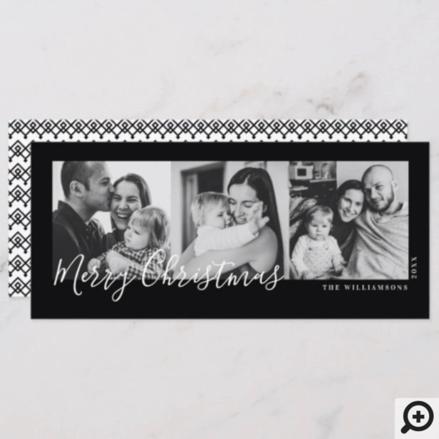 Black & White Trendy Pattern Multi Photo Christmas