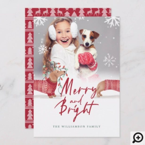 Merry & Bright | Dachshund Christmas Sweater Photo Holiday Card