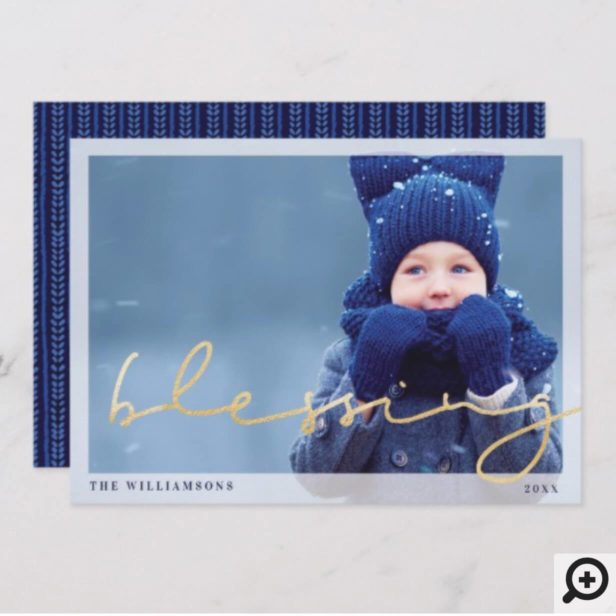 Blessing | Cozy Warm Blue Sweater Christmas Photo Holiday Card
