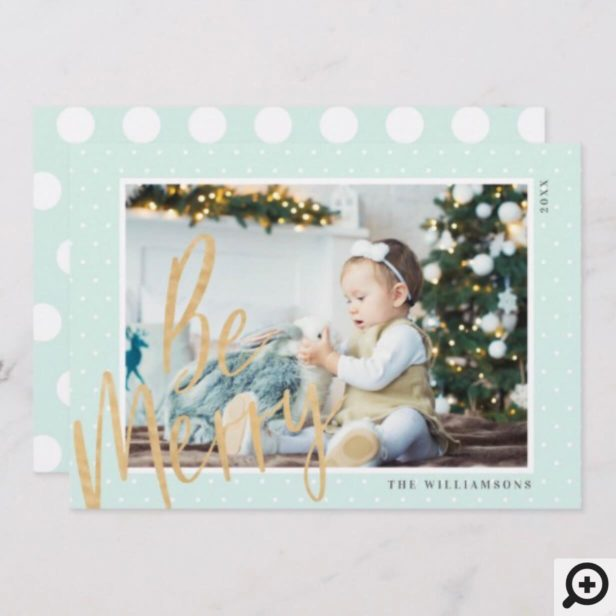 Regal & Modern Gold Be Merry Christmas Photo Holiday Card