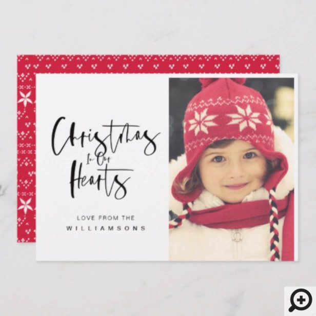 Christmas In Our Hearts Minimalist Christmas Photo Holiday Card