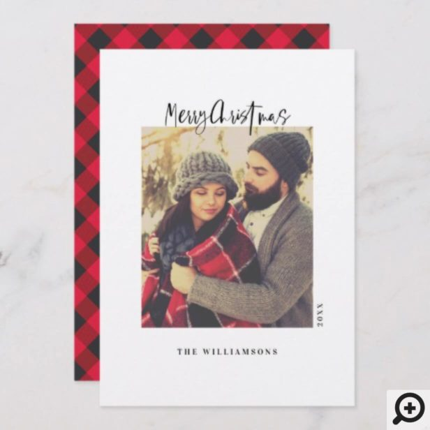 Stylish Red & Black Plaid Minimal Christmas Photo Holiday Card
