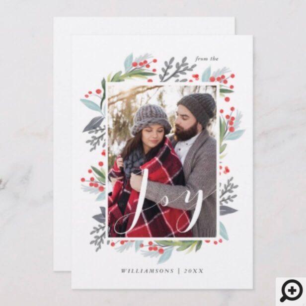 Festive Holly Watercolor Joy Foliage Family Photo Holiday Card