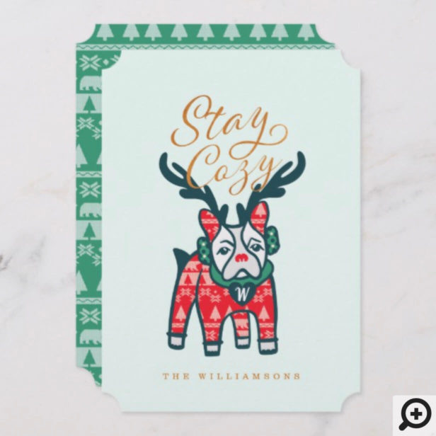 Stay Cozy | French Bulldog Reindeer Christmas Holiday Card