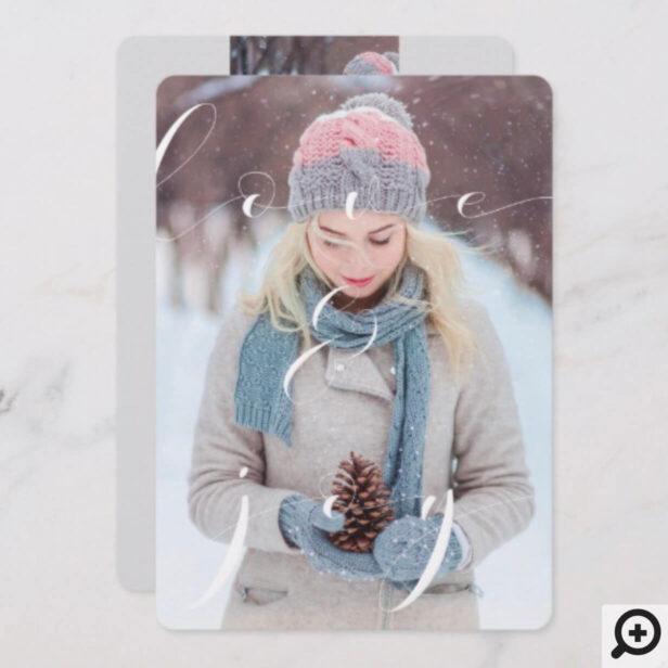 Love & Joy Elegant Winter Christmas Family Photos Holiday Card