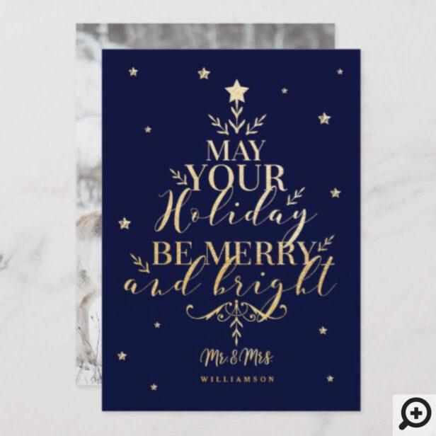 Starry Night Typographic Christmas Tree Photo Holiday Card
