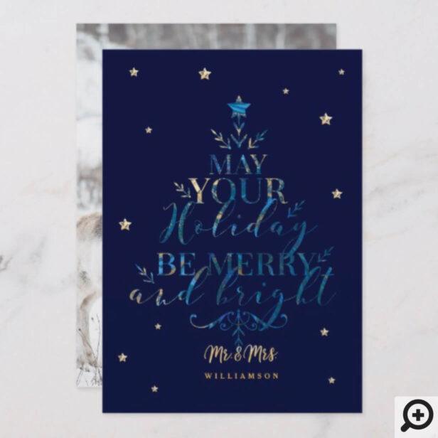 Elegant Magical Christmas Tree Typographic Photo Holiday Card