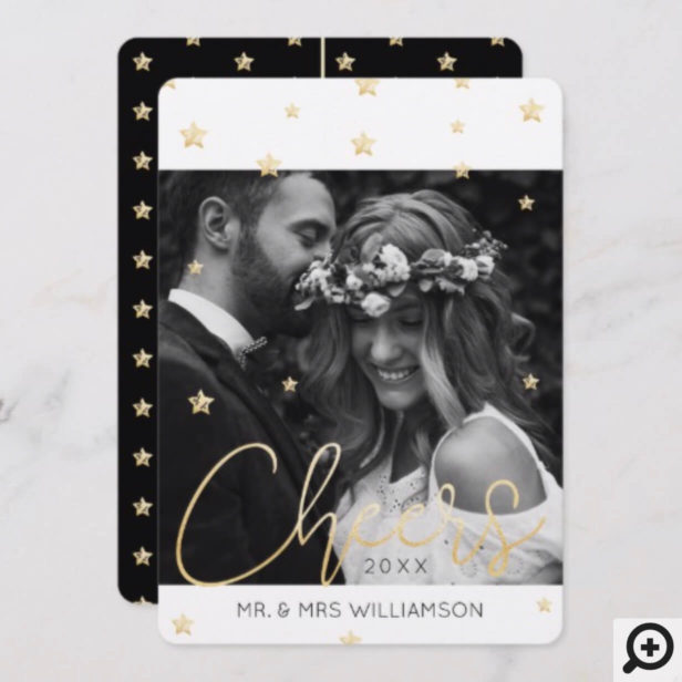Mr & Mrs Newlyweds | Magical Black & Gold Stars Holiday Card