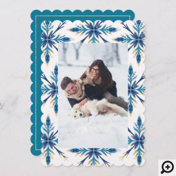 Elegant Ornate Blue & Gold Painted Snowflake Photo Holiday Card