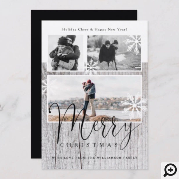 Merry | Rustic Grey Wood & Snowflakes Photos Holiday Card