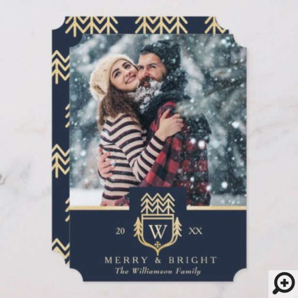 Elegant & Regal Family Crest Gold & Navy Photo Holiday Card