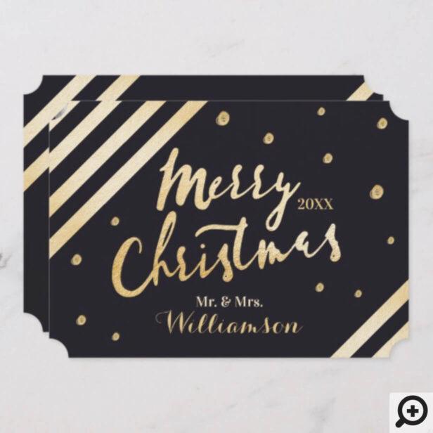 Chic Elegant Gold Merry Christmas Newlyweds Photo Holiday Card