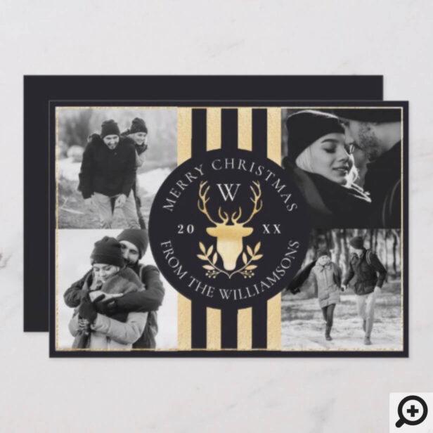 Elegant Gold Reindeer Monogram Crest Wedding Photo Holiday Card