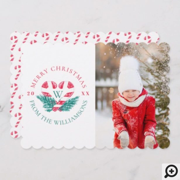 Candy Cane Heart Green Pine Christmas Crest Photo Holiday Card