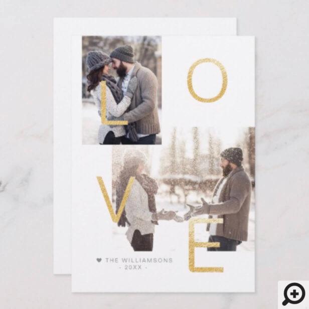 Modern Gold Love | Minimalistic Newlyweds Photo Holiday Card