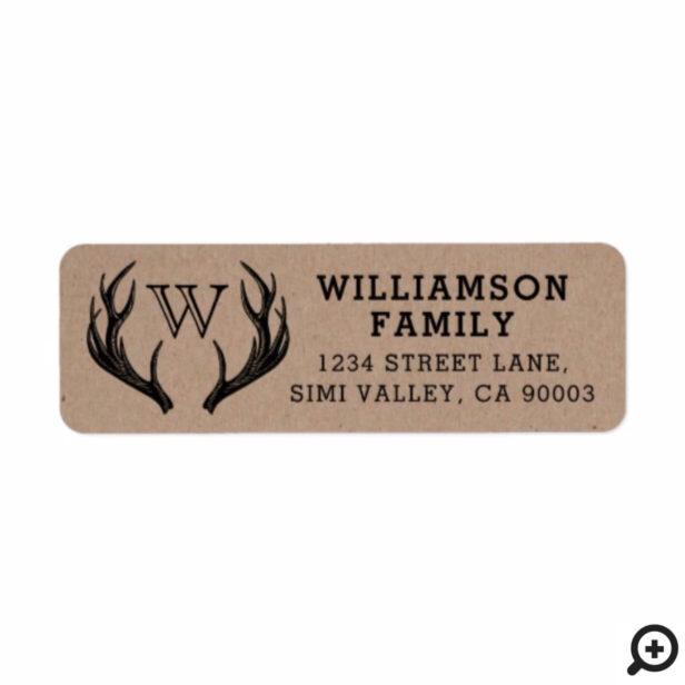 Rustic Antlers Family Monogram Christmas Label