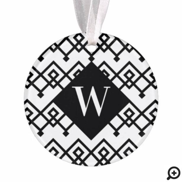 Black & White Trendy Geometric Monogram Photo Ornament