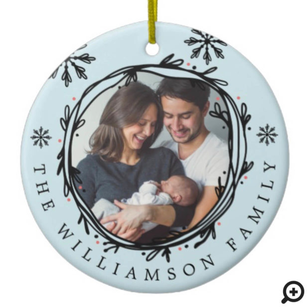 Black Blue Wreath Snowflake Baby's First Christmas Ceramic Ornament