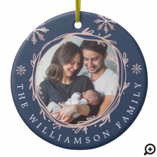 Rose Blue Wreath Snowflake Baby's First Christmas Ceramic Ornament
