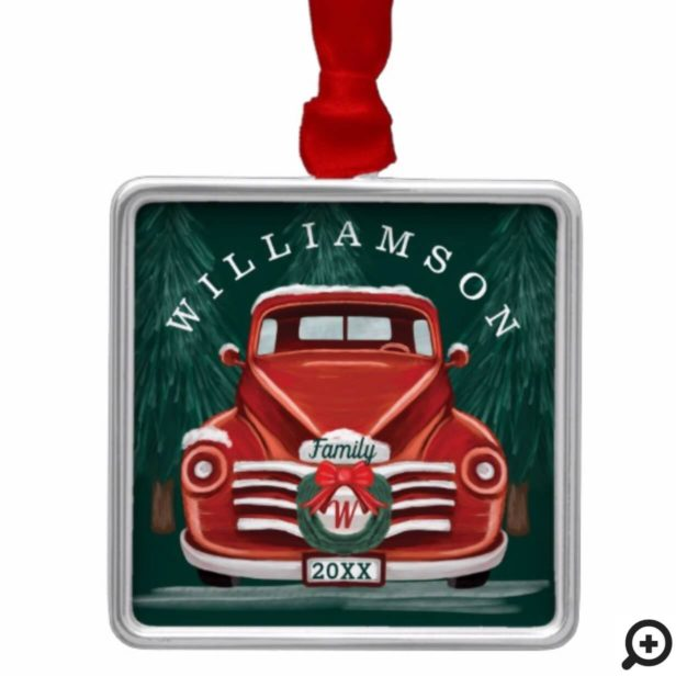 Merry Christmas Vintage Red Truck Christmas Tree Metal Ornament