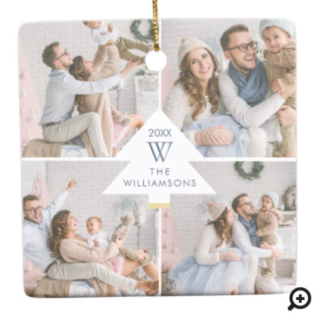 Modern Christmas Tree Monogram Four Photo Family Ceramic Ornament