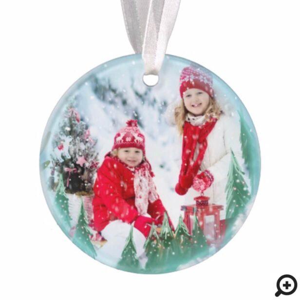 Festive Magical Winter Snow Globe Multiple Photo Ornament